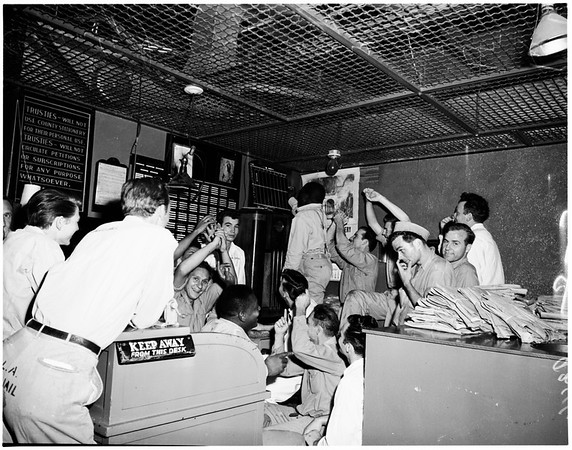 County Jail prisoners listen to baseball game, 1951.