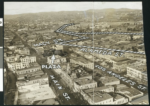 Plaza Union Terminal site near Civic Center in bird's-eye view, Los Angeles, 1934