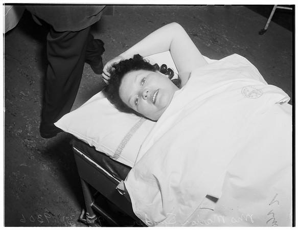 Woman thrown from auto...Georgia Street Hospital, 1951.