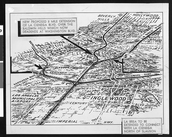 New proposed 8 mile extension of La Cienega Blvd. over the Baldwing Hills, 1948