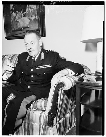 Commandant of British Royal Marines while on tour of West Coast and country's Marine bases, 1951