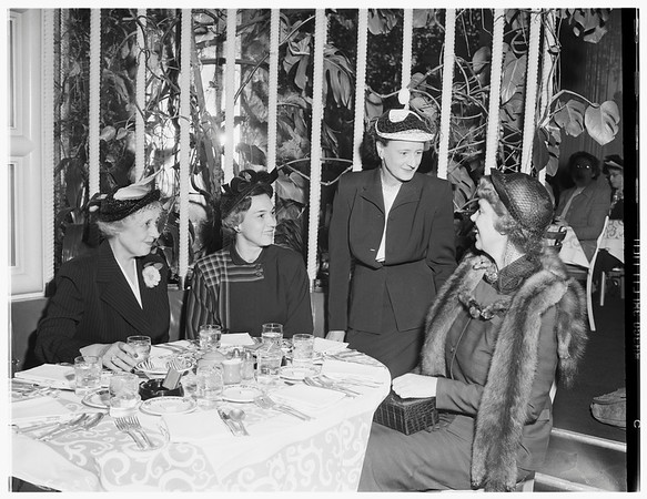 Society...Huntington Hotel, Pasadena. Installation luncheon of Pasadena Guild of Children's Hospital, 1951