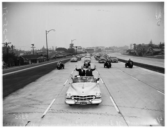Freeway...Silverlake Boulevard to Western Avenue open, 1951