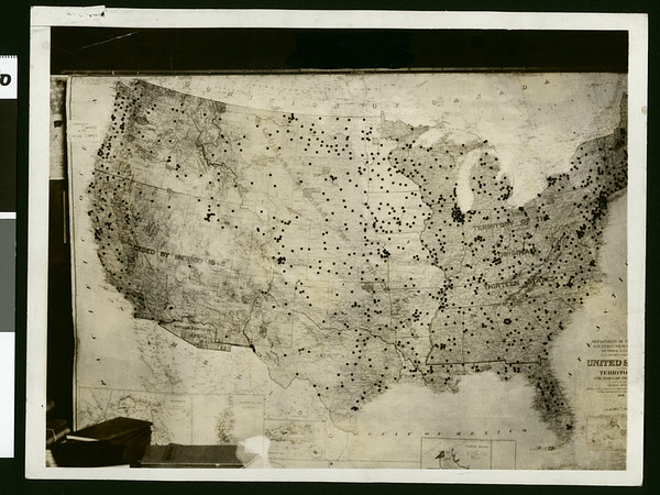 Map showing headquarters of communists in the U.S., ca.1934