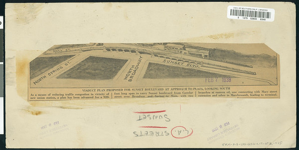 Drawing of viaduct adjacent to Sunset Blvd., 1938
