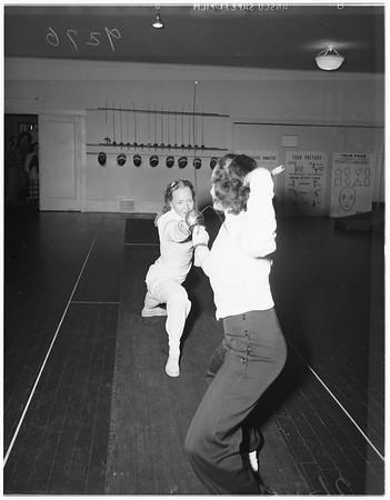 Fencing class at Caroline Leonetti's, 1948