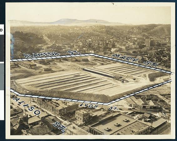 Plaza Union Terminal site near Civic Center under construction, Los Angeles, 1935