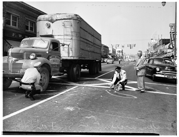 Traffic -- San Fernando (two trucks -- one cotton truck) (Two women were struck in cross walk), 1951