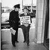 Grandpa Fred Feld on picket line in front of grandchild's home, 1951