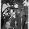 Youngster wrecks family car, 1951