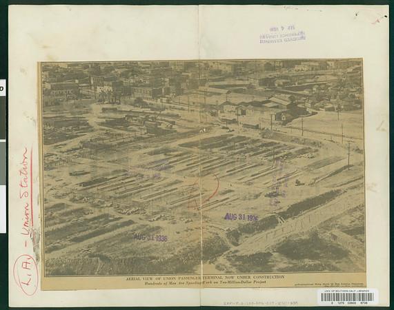 Union Passenger Terminal, under construction, Los Angeles, 1936