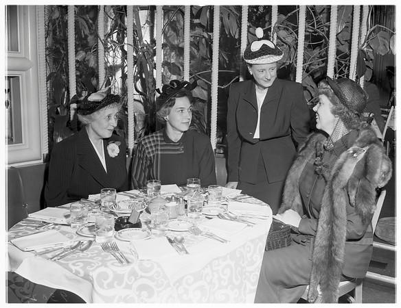 Society...Huntington Hotel, Pasadena. Installation luncheon of Pasadena Guild of Children's Hospital, 1951
