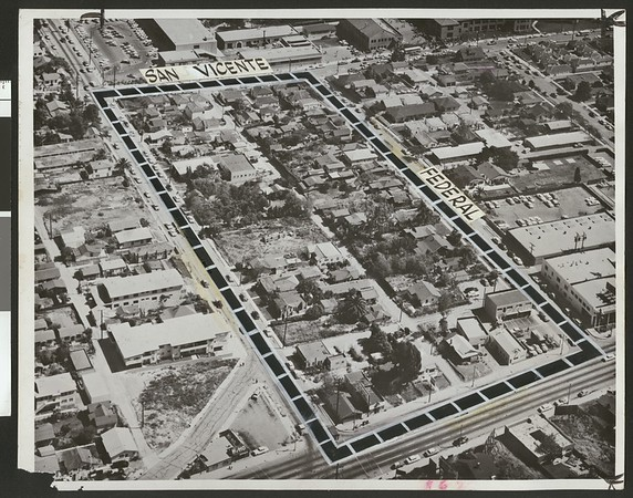 Blighted neighborhood in West Los Angeles slated for Barrington Plaza development, 1959