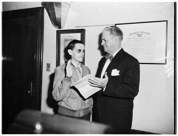 Hiccup boy to work for Post Office, 1951