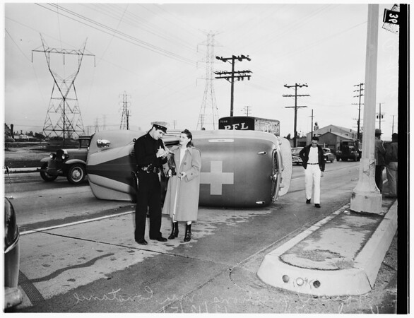 Ambulance overturns on way to call in North Hollywood, 1951