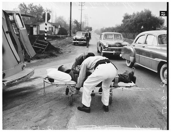 Traffic accident (Kester Avenue and Magnolia Boulevard, Van Nuys) bicycle versus truck, 1951