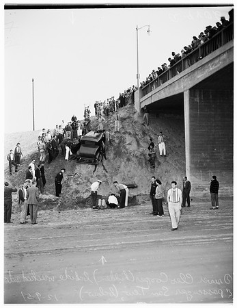 Auto off Los Angeles River Bridge on Willow Street, Long Beach, 1951