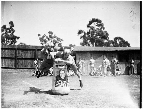 Football University of California, Los Angeles practice, 1951