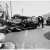 Collision... bus versus autos... San Pedro Street and East Manchester Avenue, 1951