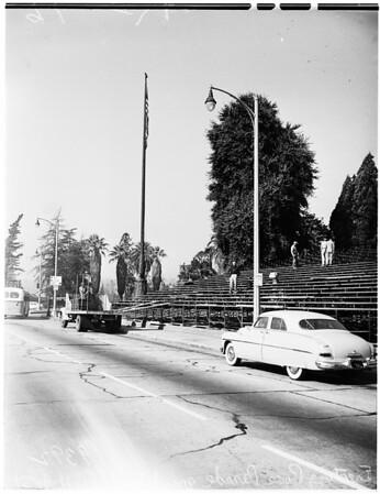Tournament of Roses... Pasadena... workmen erecting first grandstand, 1951