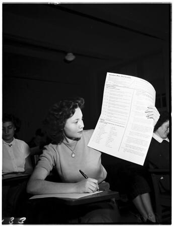 Examiner History Awards Contest at Catholic Girls High School, 1951