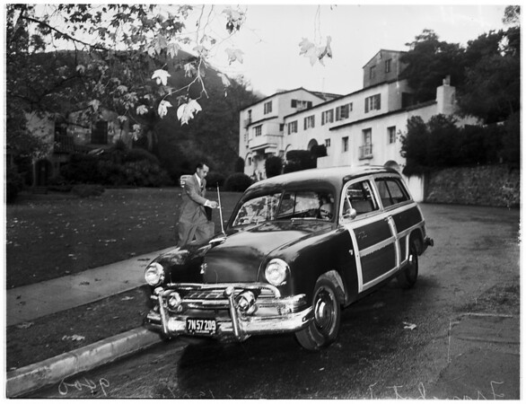 Tone leaves Payton's home ...Getting into car and in car, 1951