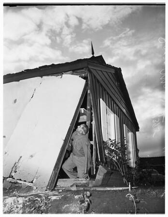 Car driven through garage into house... brakes failed, 1951