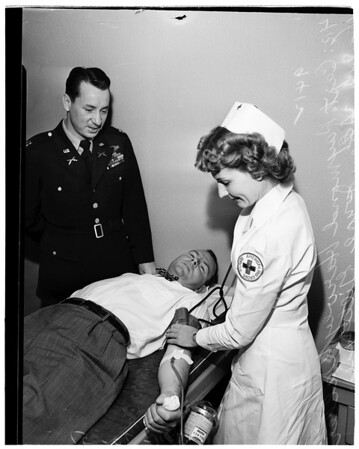 "Blood donors get ""Fixed Bayonets"" tickets, 1951"
