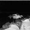 Auto into Ballona Creek... view of car in creek, 1951