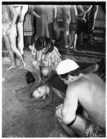 Bather injured in collision, 1951