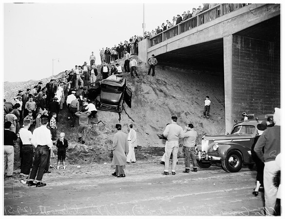 Auto off Los Angeles River Bridge on Willow Street, Long Beach, 1951