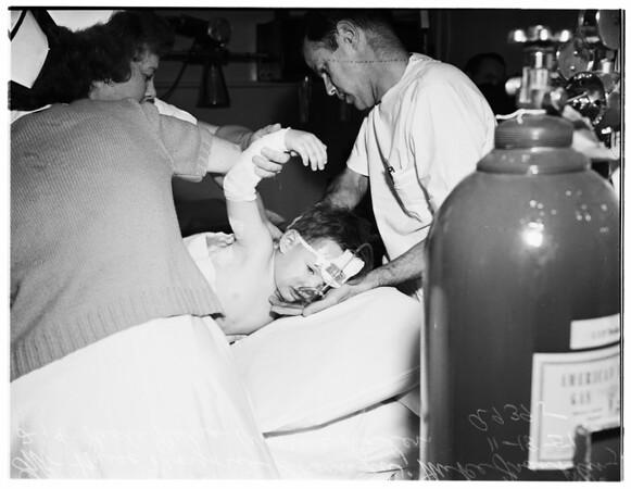 Boy hit by auto... Georgia Street Receiving Hospital, 1951