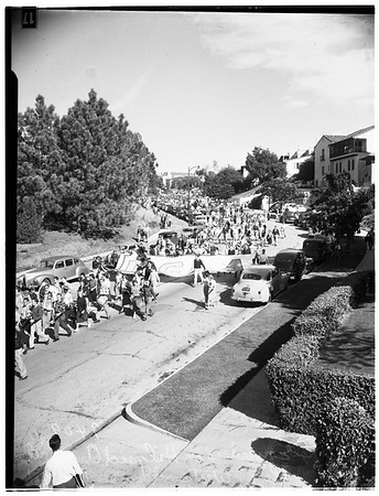 Football ...University of California, Los Angeles rally, Westwood, 1951
