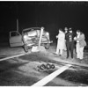 Auto hits lamppost (No Address), 1951