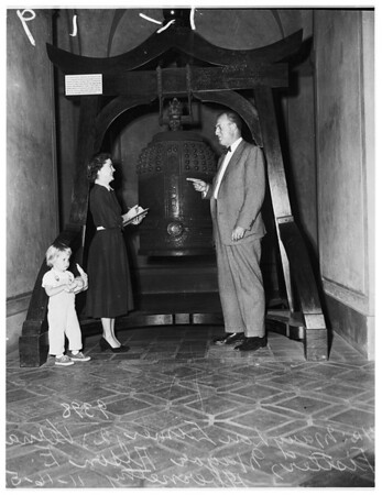 Japanese Temple bell at Pasadena, 1951