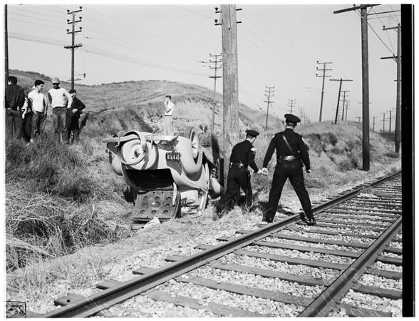Overturned auto... 3300 Block North Gaffey Street, San Pedro, 1951