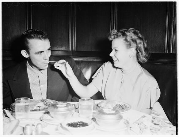 Korean veteran gets Thanksgiving dinner at Lyman's, 1951