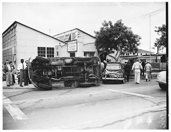 Traffic accident (auto versus truck), 1951