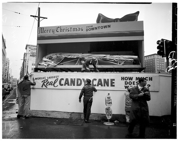 Largest candy cane in the world...Pershing Square, 6th Street and Hill Street, 1951