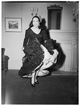 Spanish dancer... leader of Spanish Ballet to be seen in Philharmonic Auditorium, 1951
