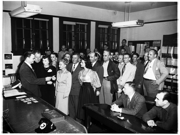 Civil defense meeting, Hollywood Police Station, 1951