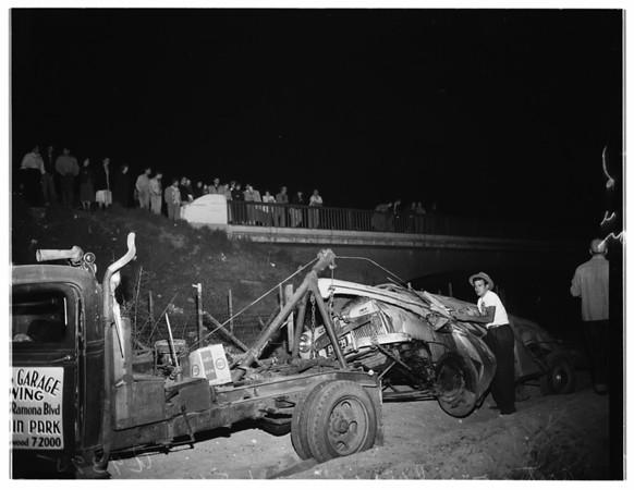 Auto over bridge, 1951