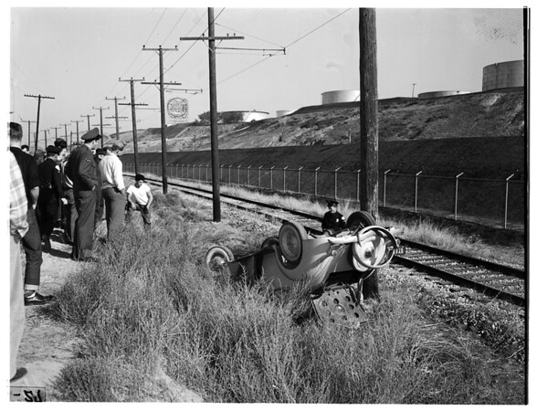 Overturned auto... 3300 Block North Gaffey Street, San Pedro, 1951