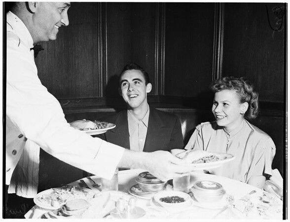 Korean veteran gets Thanksgiving dinner at Lyman's, 1951