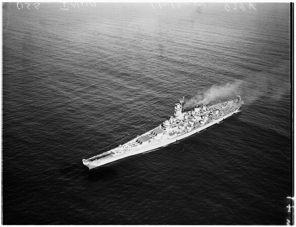 United States Ship Iowa off the coast of California, 1951