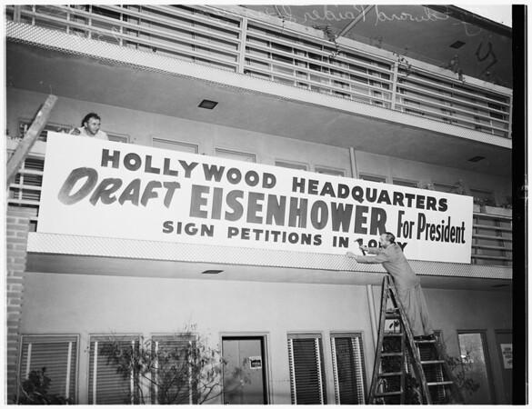 Eisenhower banner... For President... Country Club Hotel, 1951