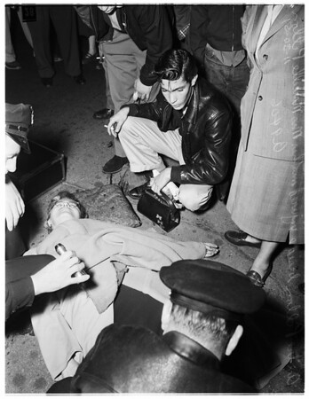 Auto Accident ar Edgement Street and Santa Monica Boulevard ...Woman pedestrian hurt, 1951