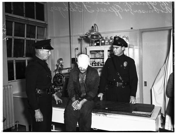 Death stabbing suspect...at Georgia Street Hospital, 1951