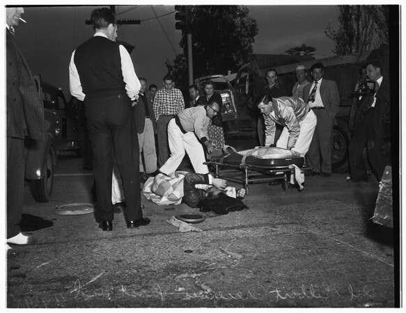 Truck and motorcycle collide... Oxnard Street and Colfax Avenue, North Hollywood, 1951