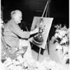 "Seventy-nine-year old artist doing ""Flower Portraints"" at Flower Show, 1951"
